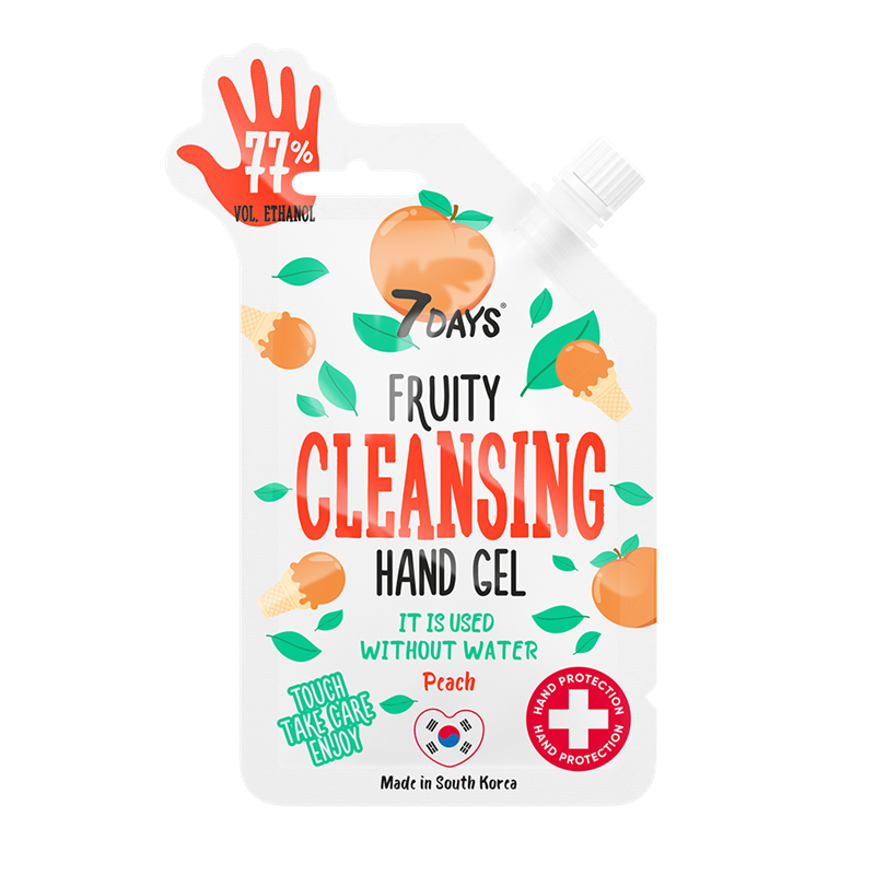 FRUITY CLEANSING HAND GEL com aroma a pêssego 25ml