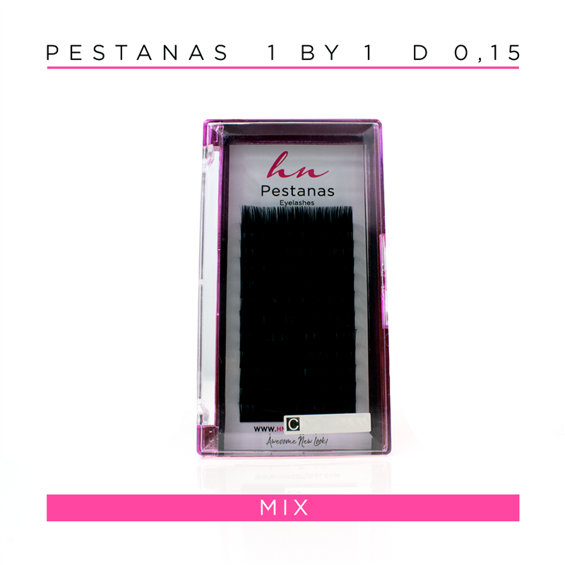 Pestanas One by One D 0,15 em caixa mix 12 filas
